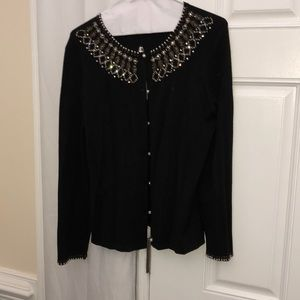 Black beaded sweater button down